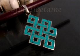 PA51 Pendentif Argent Massif Nœud Sans Fin Signes Auspicieux Turquoise