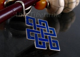 PA52 Pendentif Argent Massif Nœud Sans Fin Signes Auspicieux Lapis Lazuli
