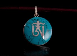PA134 Pendentif Argent Massif Om Tibétain Turquoise