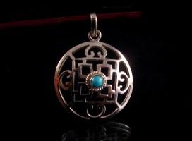 PA156 Pendentif Argent Massif Tibétain Mandala Turquoise