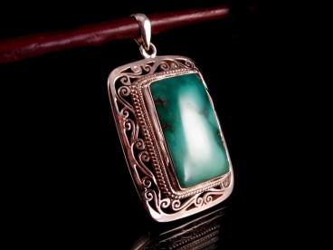 PA172 Pendentif Tibétain Argent Massif Turquoise
