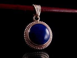 PA174 Pendentif Tibétain Argent Massif Lapis Lazuli