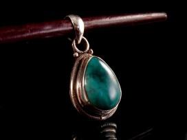 PA175 Pendentif Tibétain Argent Massif Turquoise