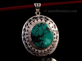 PA243 Pendentif Tibétain Argent Massif Turquoise