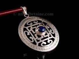 PA283 Pendentif Argent Massif Tibétain Mandala Lapis Lazuli