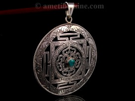 PA311 Pendentif Argent Massif Mandala Turquoise