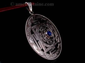 PA312 Pendentif Argent Massif Mandala Lapis Lazuli