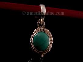 PA331 Pendentif Tibétain Argent Massif Turquoise