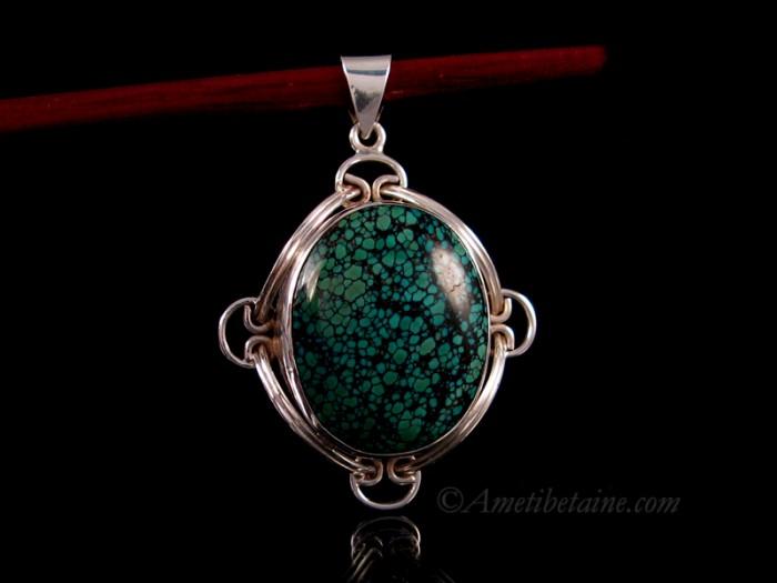 Pendentif tibetain turquoise