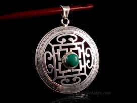PA394 Pendentif Argent Massif Tibétain Mandala Turquoise