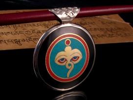 PD60 Pendentif Mantra Yeux de Bouddha Noeud Sans Fin
