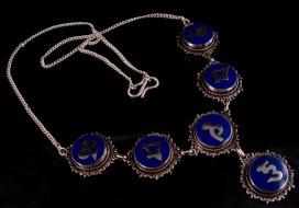 CA02 Collier Tibétain Argent Massif Lapis Lazuli Mantra Bouddhiste
