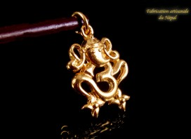 POr02 Pendentif Or 14 Carats Om Ganesh