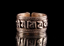 BA40 Bague Argent Massif Mantra Tibétain Om Mani Padme Hum