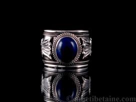 BA146 Bague Tibétaine Argent Massif Lapis Lazuli