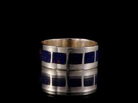 BA160 Bague Tibétaine Argent Massif Lapis Lazuli