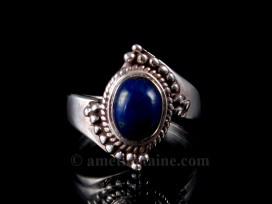 BA175 Bague Tibétaine Argent Massif Lapis Lazuli. Taille 56