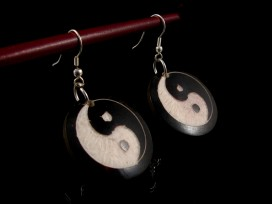 BdOD03 Boucles d'Oreille Tibétaines Yin Yang