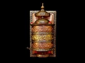 RP74 Roue à Prières Tibétaine Mantra Astamangala