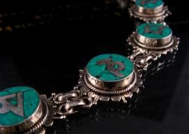 BRA12 Bracelet Tibétain Argent Massif Turquoise Mantra Bouddhiste