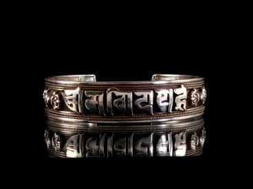 BRA39 Bracelet Tibétain Argent Massif Mantra Bouddhiste