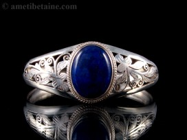 BRA44 Bracelet Tibétain Argent Massif Lapis Lazuli