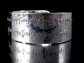 BRA47 Bracelet Tibétain Argent Massif Mantra Bouddhiste