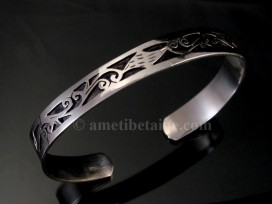 BRA50 Bracelet Tibétain Argent Massif