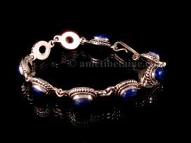 BRA59 Bracelet Tibétain Argent Massif Lapis Lazuli
