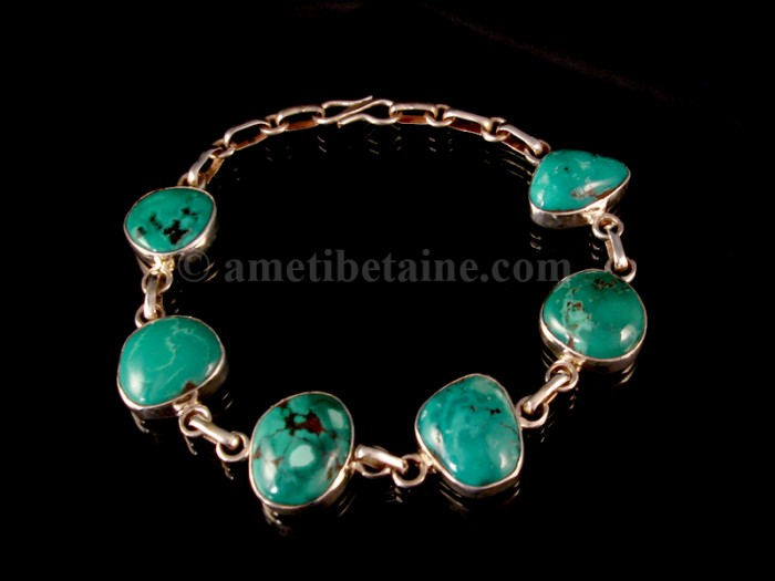 BRA60 Bracelet Tibétain Argent Massif Turquoise