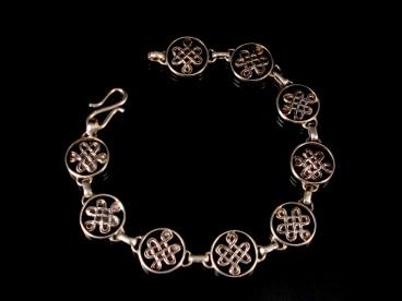 BRA63 Bracelet Tibétain Argent Massif Noeud Sans Fin