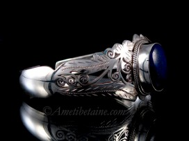 BRA64 Bracelet Tibétain Argent Massif Lapis Lazuli