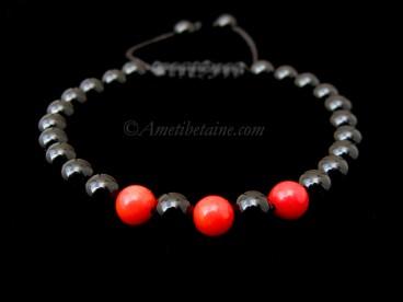 BrMala292 Bracelet Onyx Corail Bambou