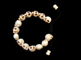 BRD158 Bracelet Mala Tibétain Crâne Os de Buffle