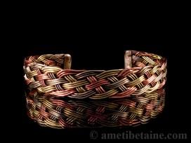 BRD182 Bracelet Tibétain Métal Argenté Cuivre Laiton