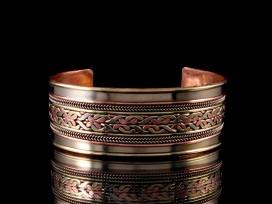 BRD194 Bracelet Tibétain Métal Argenté Cuivre Laiton
