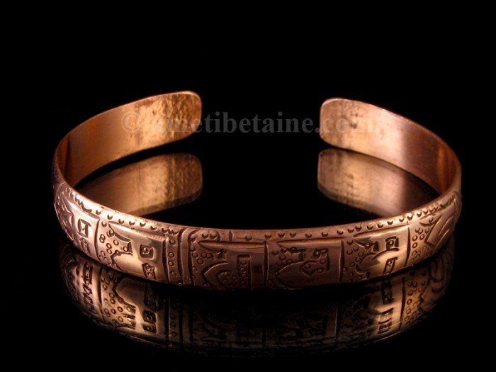 BRD243 Bracelet Tibétain Cuivre Mantra Om Mani Padme Hum