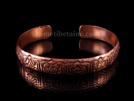 BRD244 Bracelet Tibétain Cuivre Astamangala Signes Auspicieux du Bouddhisme