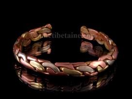 BRD251 Bracelet Tibétain Métal Argenté Cuivre Laiton