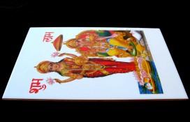 F04 Faïence Ganesh Laxmi Dieu et Déesse Hindous