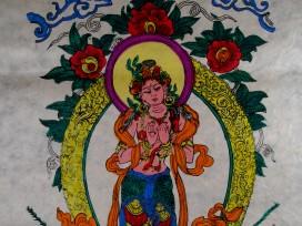 AF02 Affiche Tibétaine Papier Népalais Tara Déesse Bouddhiste