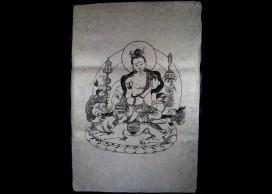 AF07 Affiche Tibétaine Papier Népalais Shiva Dieu Hindou