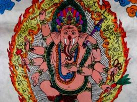 AF13 Affiche Tibétaine Papier Népalais Ganesh Dieu Hindou
