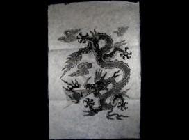 AF12 Affiche Tibétaine Papier Népalais Dragon