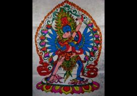 AF14 Affiche Tibétaine Papier Népalais Le Mahakala