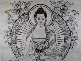 AF36 Affiche Tibétaine Papier Népalais Bouddha