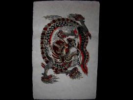 AF20 Affiche Tibétaine Papier Népalais Dragon