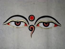 AF21 Affiche Tibétaine Papier Népalais Yeux de Bouddha