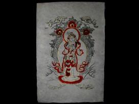 AF22 Affiche Tibétaine Papier Népalais Tara Déesse Bouddhiste