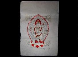 AF23 Affiche Tibétaine Papier Népalais Ganesh Dieu Hindou